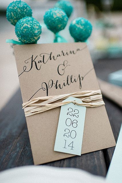 Einladungskarte Hochzeit Kraftpapier Hochzeit am See Inspiration