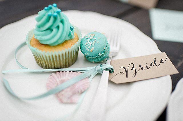 Tischetikette Bride Kraftpapier und cupcake