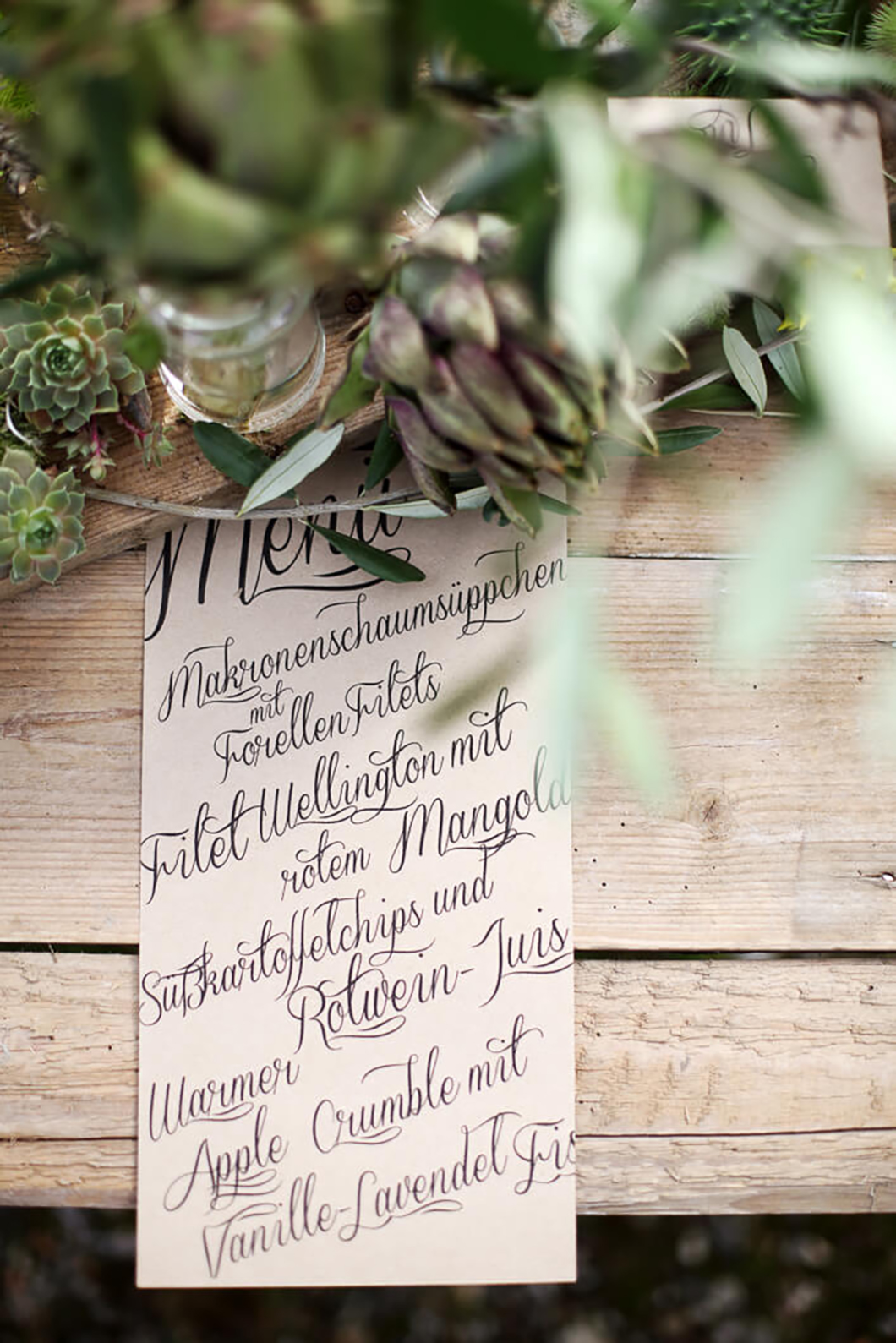 ausgefallene Menükarte Hochzeit inspiration