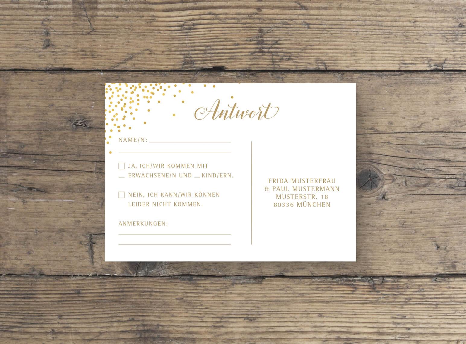 Hochzeit Antwortkarte in Rosa Gold rückseite