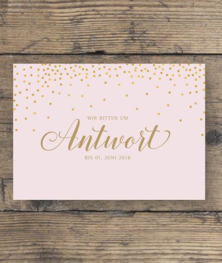 Antwort Postkarte in Rosa Gold geschwungene Schrift vorderseite