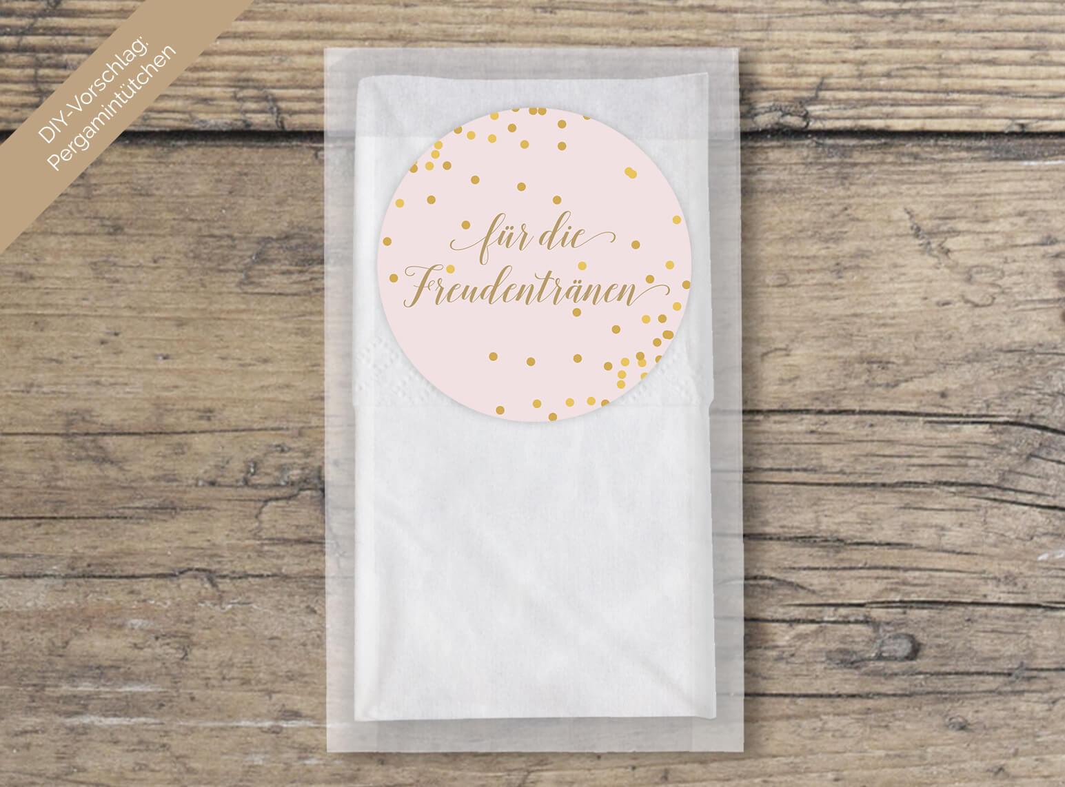 DIY Aufkleber Hochzeit Freudentränen rund in Rosa Gold geschwungene Schrift