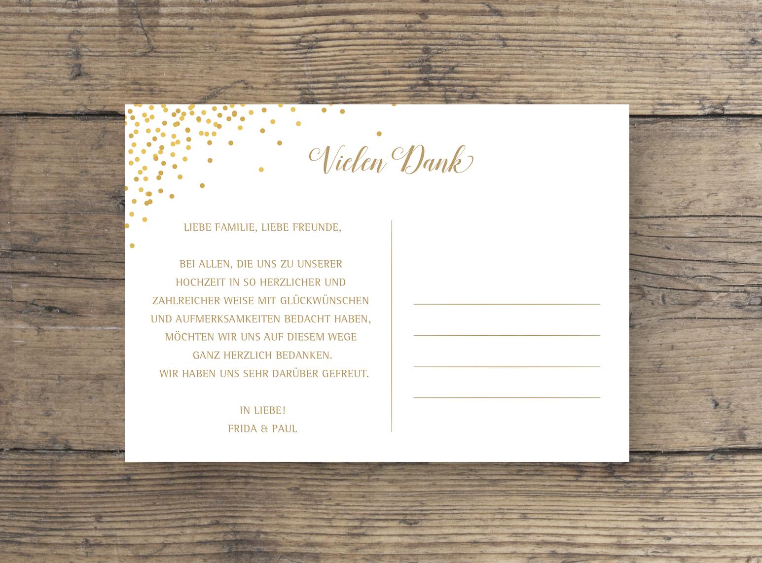 Hochzeit Dankeskarte DINA6 rosa gold rückseite