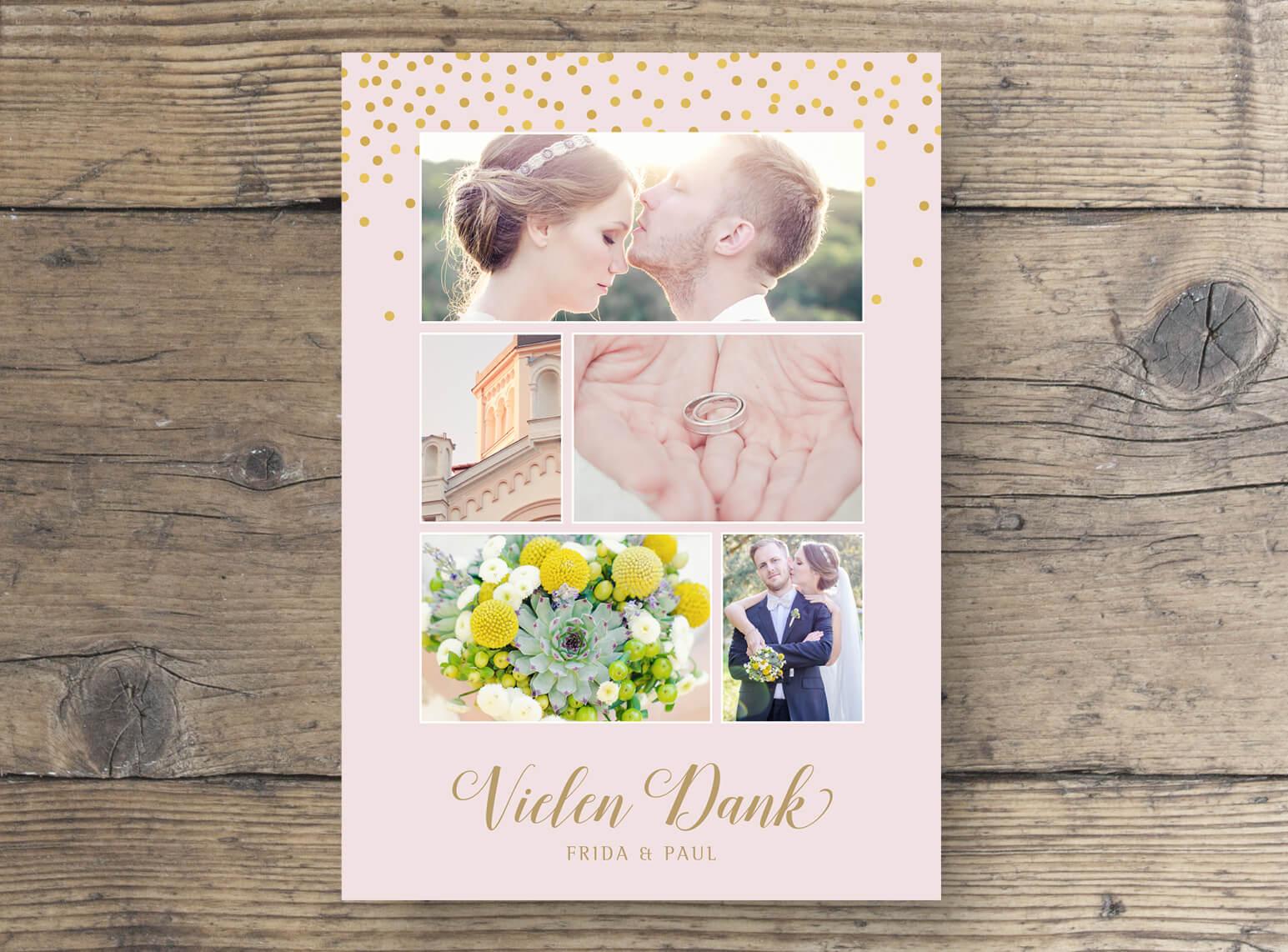 Hochzeit Dankeskarte mit Foto DinA6