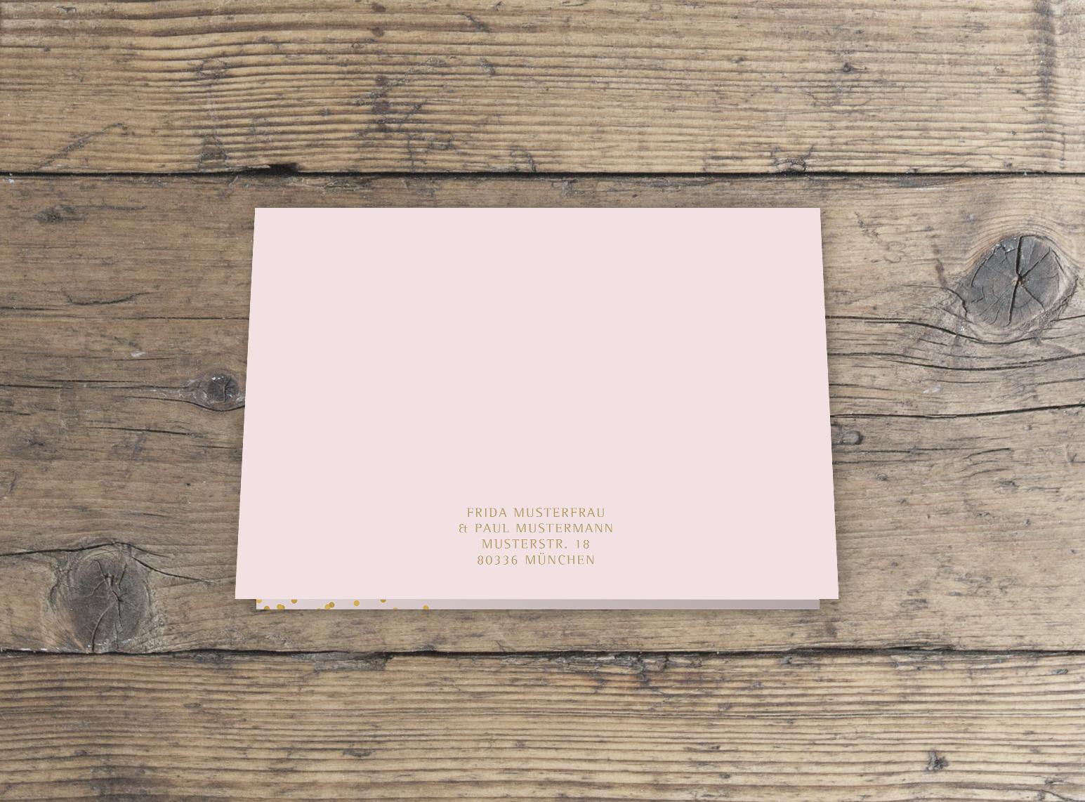 Dankeskarte Hochzeit Klappkarte DinA6 rosa gold querformat