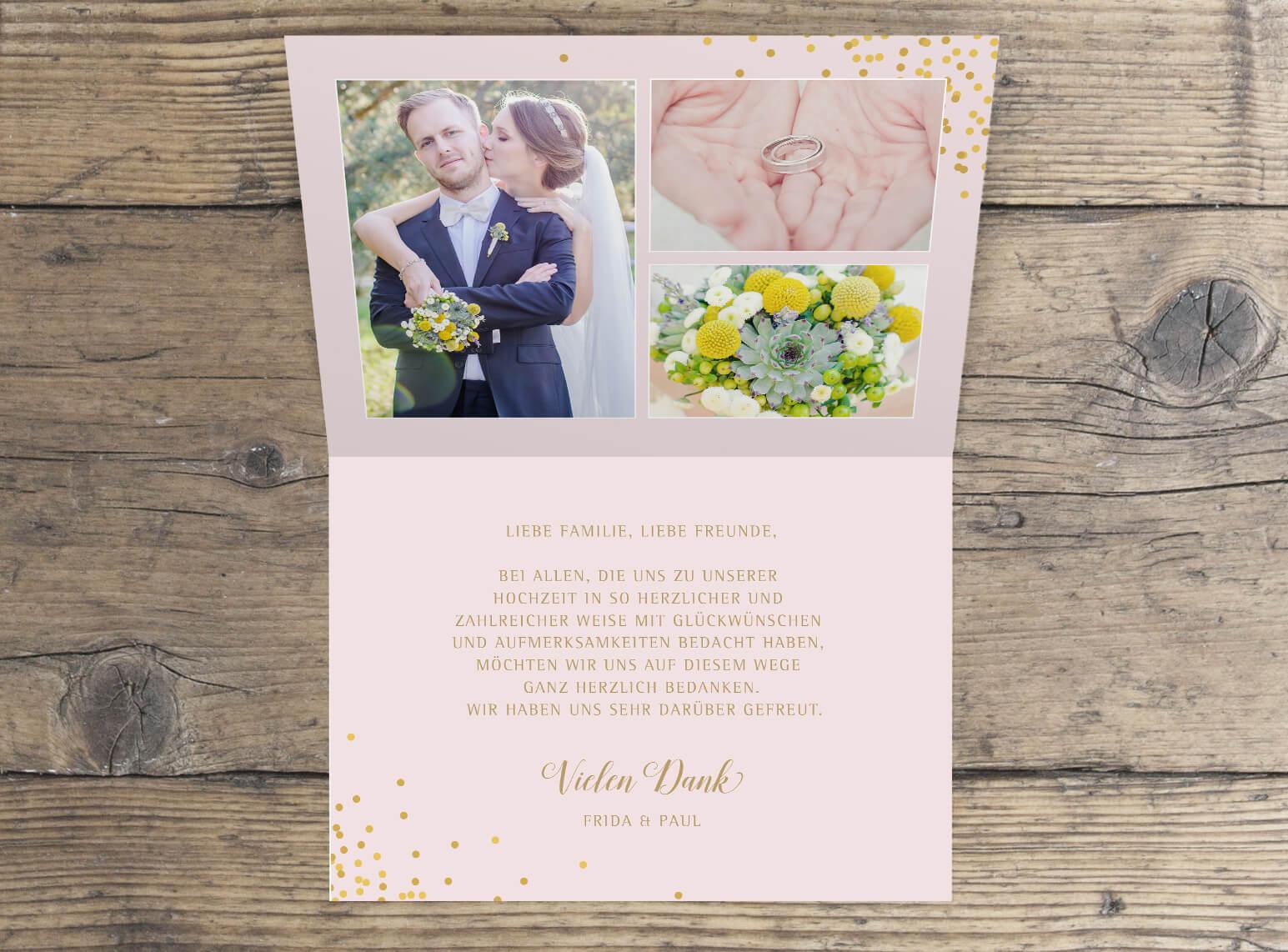 Dankeskarte mit Foto Hochzeit Klappkarte mit Foto innen
