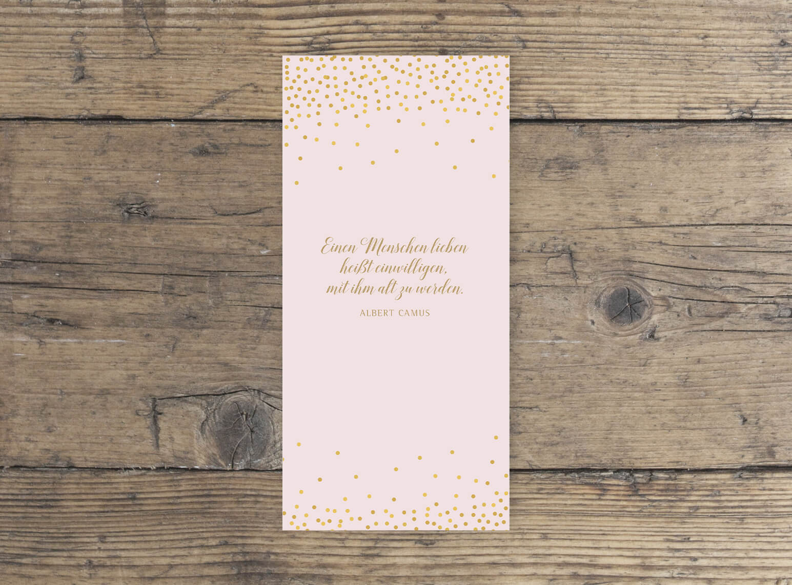 Hochzeit Kirchenblatt DINlang hochformat in Rosa Gold geschwungene Schrift rückseite
