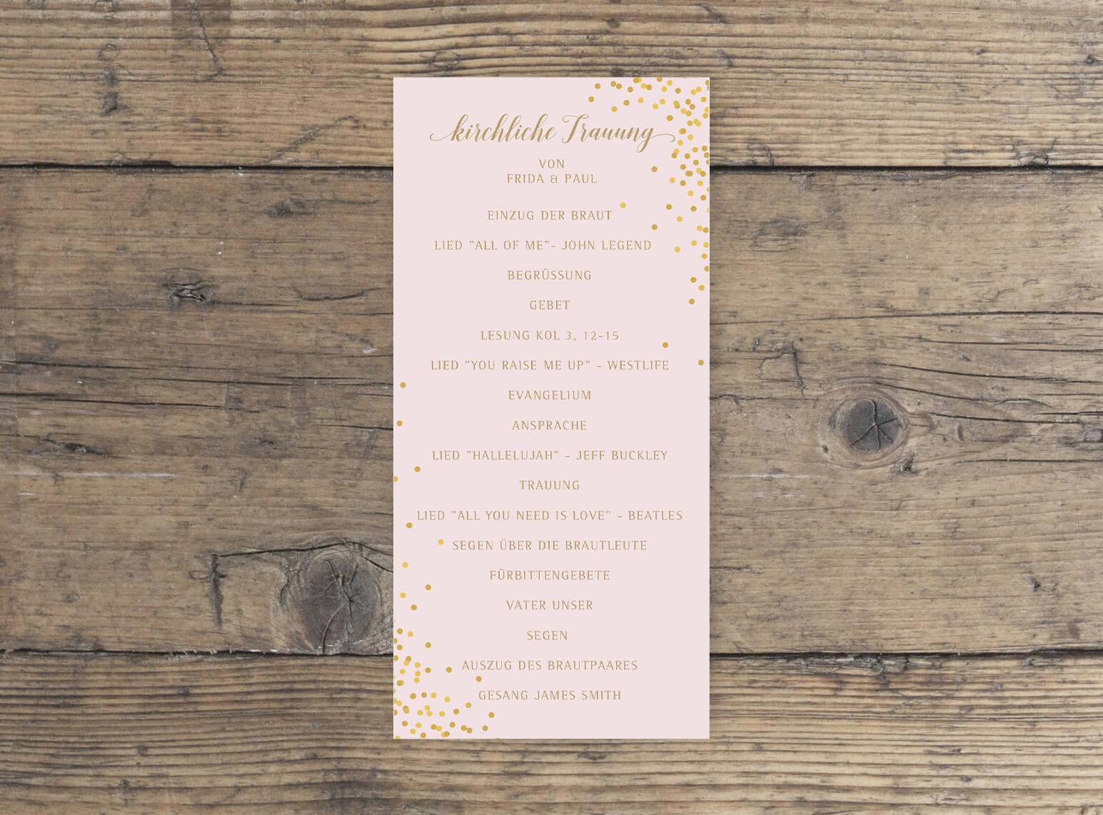 Hochzeit Kirchenblatt DINlang hochformat in Rosa Gold vorderseite