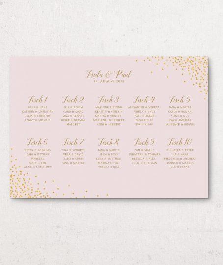 Sitzplan Hochzeit DinA 1 rosa gold Querformat
