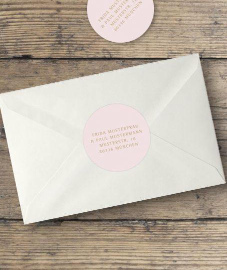 Runde Adressaufkleber Hochzeitseinladung in Rosa Gold
