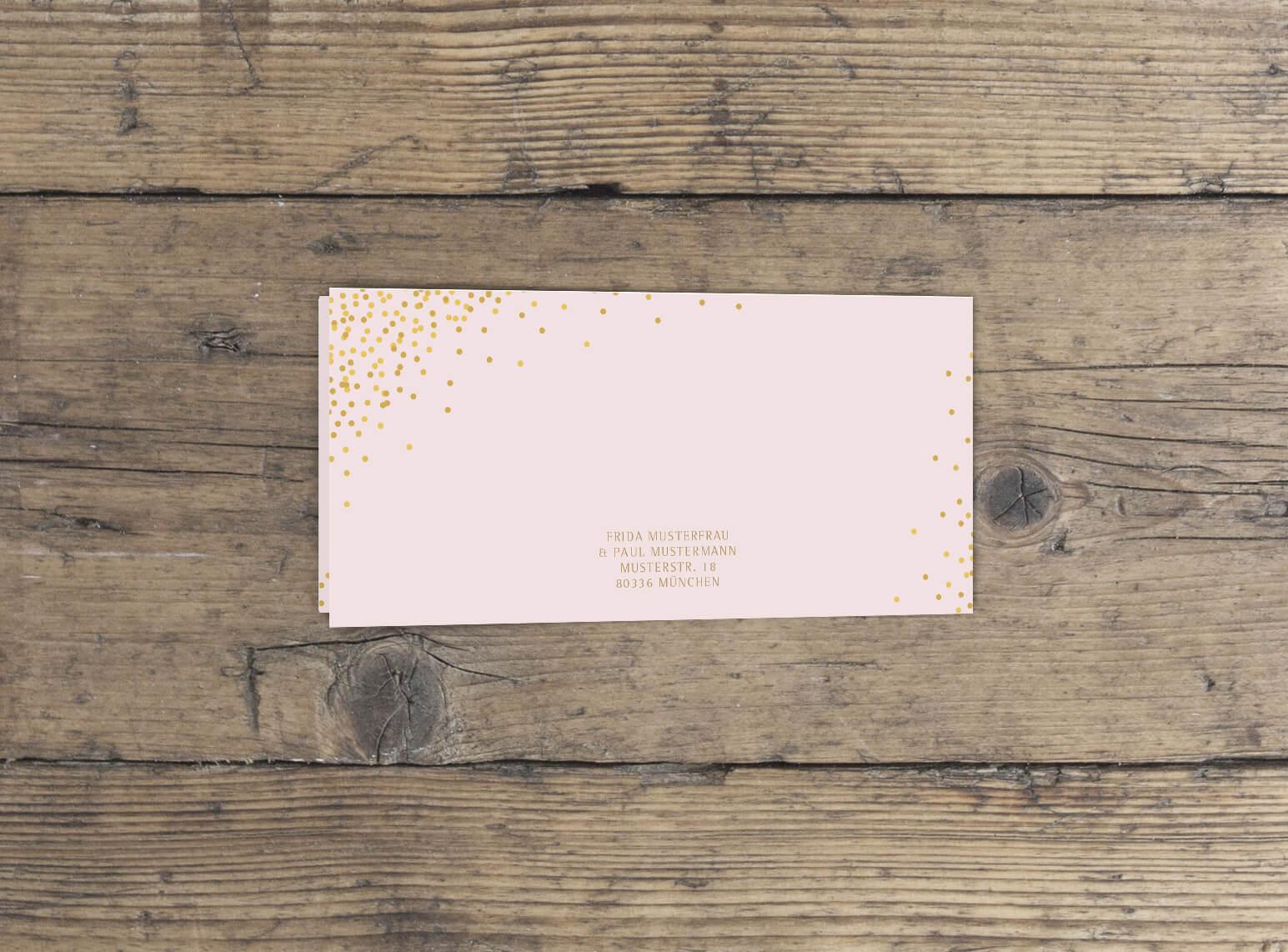 Klappkarte Hochzeit lang querformat in Rosa Gold rückseite