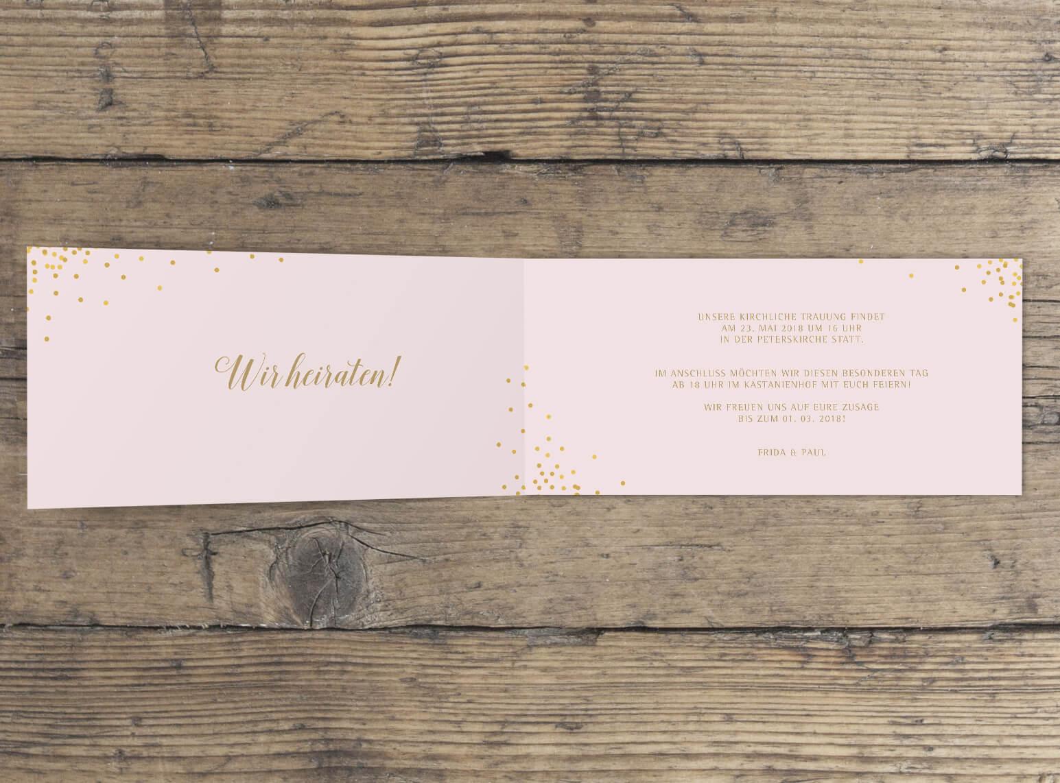 Klappkarte Hochzeit lang querformat in Rosa Gold innen