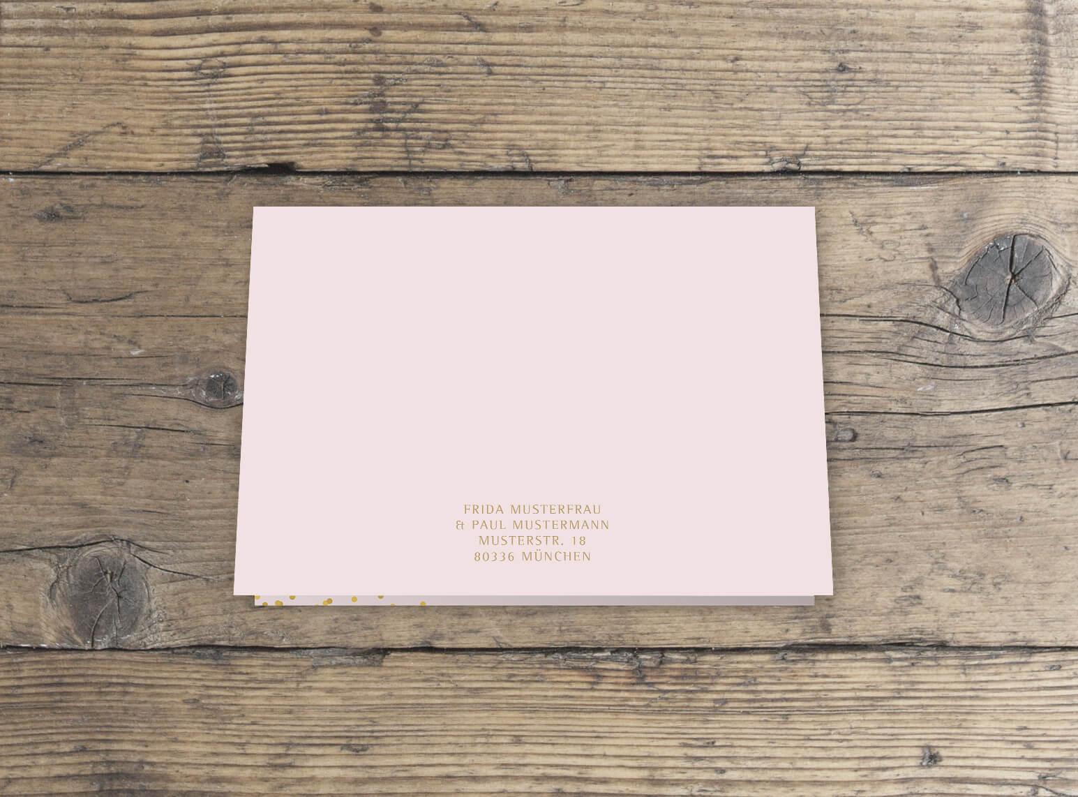 Hochzeitseinladungskarte in rosa gold Klappkarte rückseite