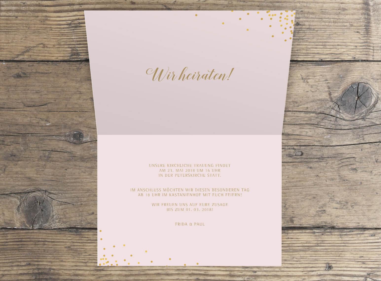 Hochzeits klappkarte quer in rosa gold innen