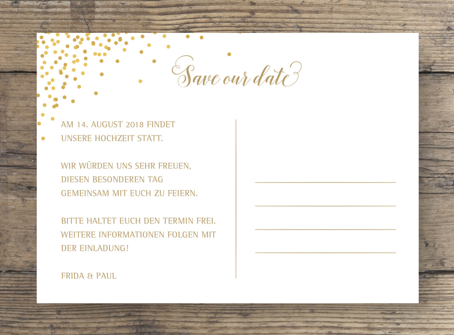 Save The Date Postkarte Sparkle mit Gold-Effekt Rückseite in Rosa Gold