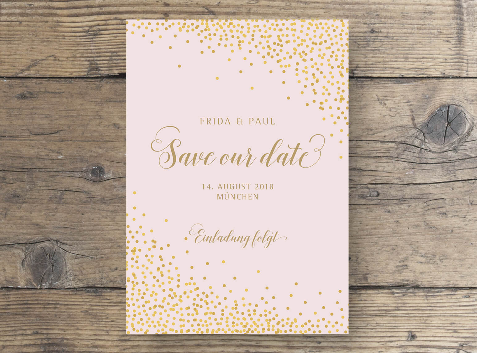 Save The Date Postkarte Sparkle in Rosa Gold Vorderseite