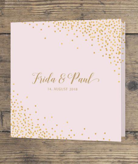 Hochzeitseinladung Quadrat Klappkarte vorderseite in rosa gold veredelt geschwungene Schrift