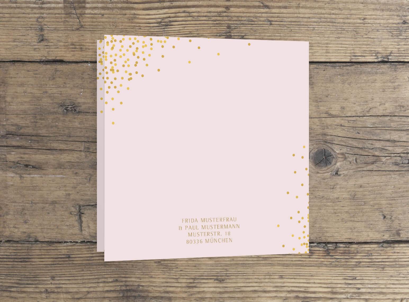Klappkarte quadrat einladung hochzeit in rosa gold veredelt rückseite