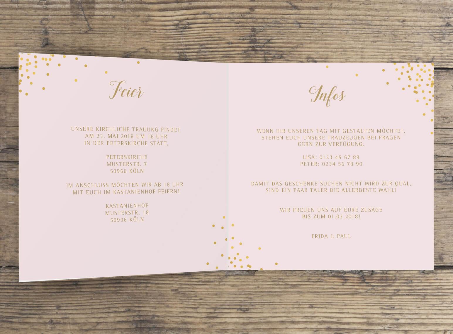 Sparkle N Shine Hochzeitseinladung Klappkarte Quadratisch Marry