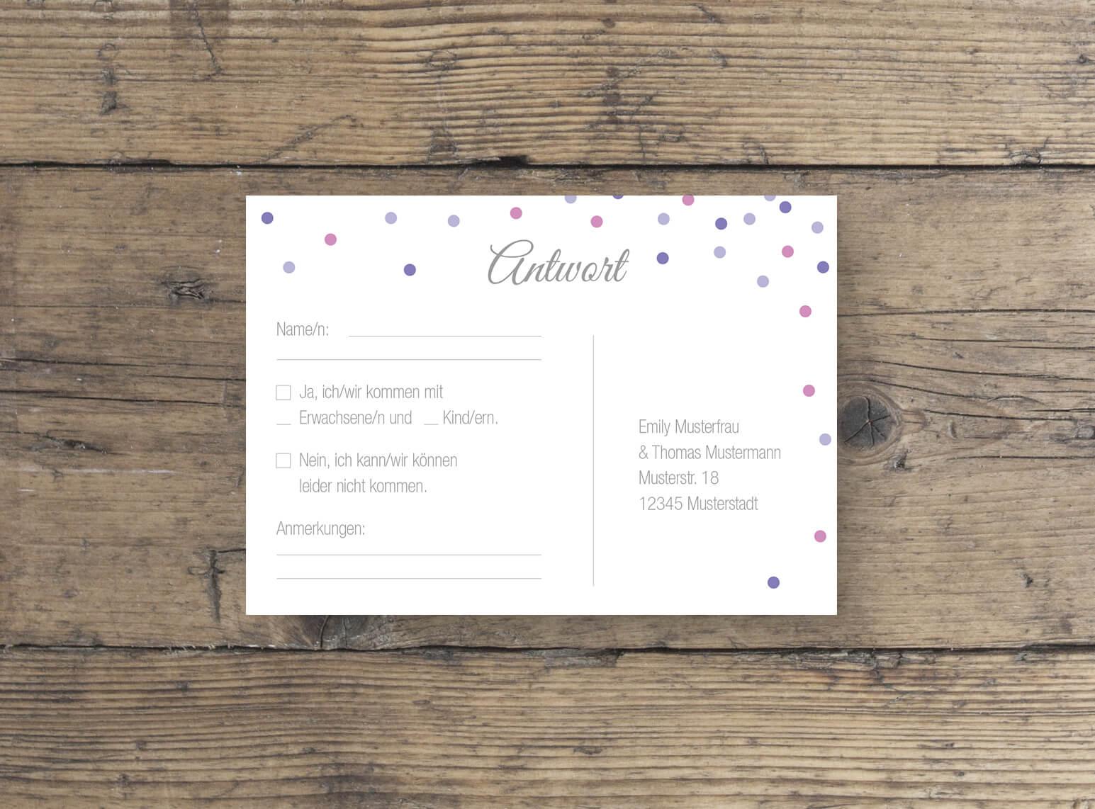Antwort Postkarte Rückseite für die Hochzeitsplanung