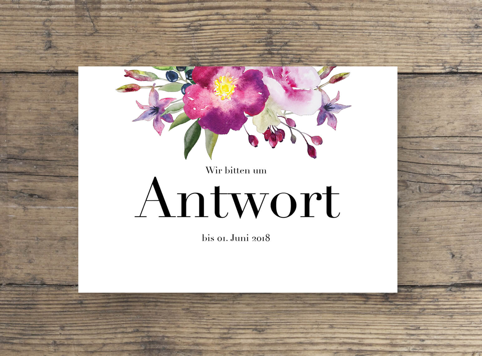 Hochzeitskarten wilde Romantik in Aquarell, Antwort Postkarte Hochzeitsplanung
