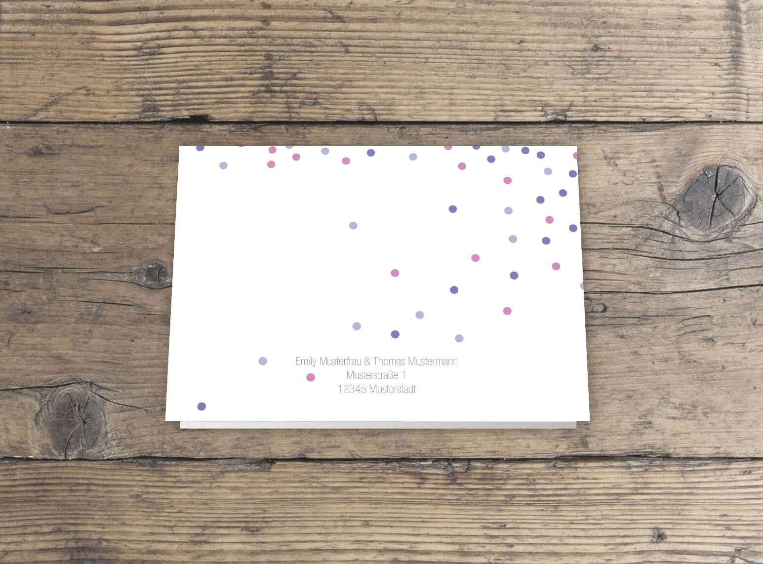 Dankesklappkarte Hochzeitspapeterie Rückseite