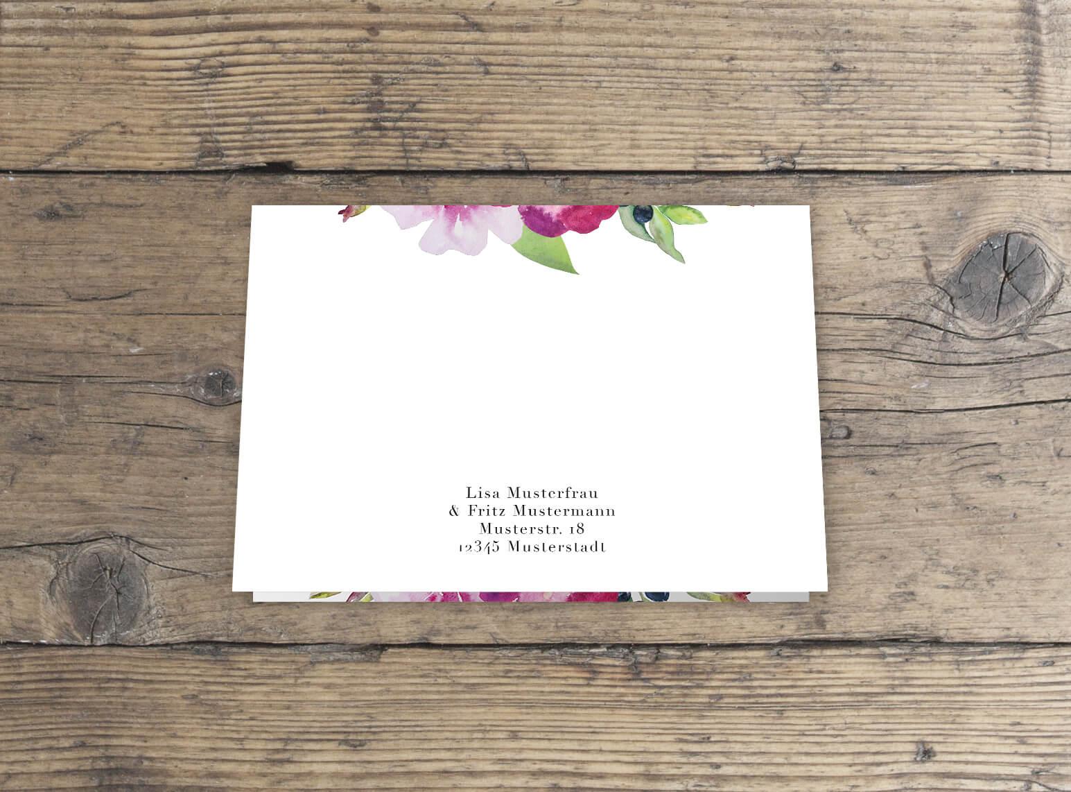 Dankeskarte Klappkarte Rückseite Rosen Aquarell