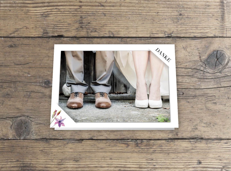 Hochzeitskarten wilde Romantik in Aquarell, Dankeskarte mit einsteck Foto Klappkarte