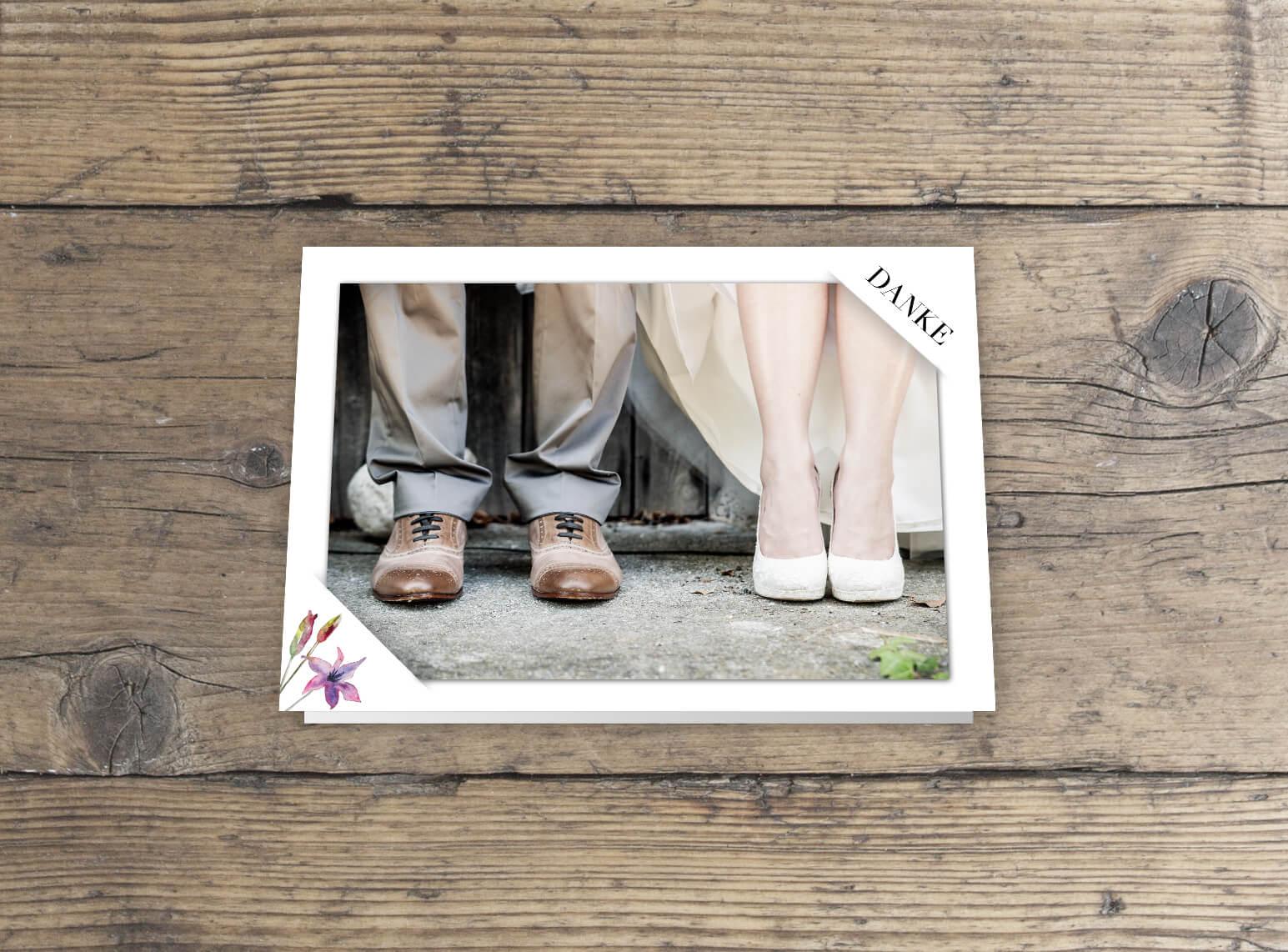 Dankeskarte mit Einsteckfoto Klappkarte Rosen Aquarell Design