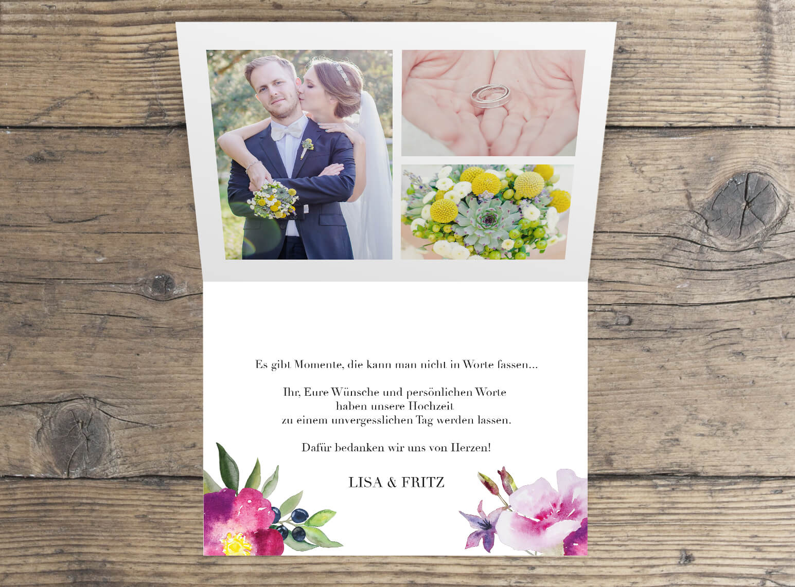Hochzeits dankeskarte mit Foto Innenseite verspieltes Aquarell Design Rosen