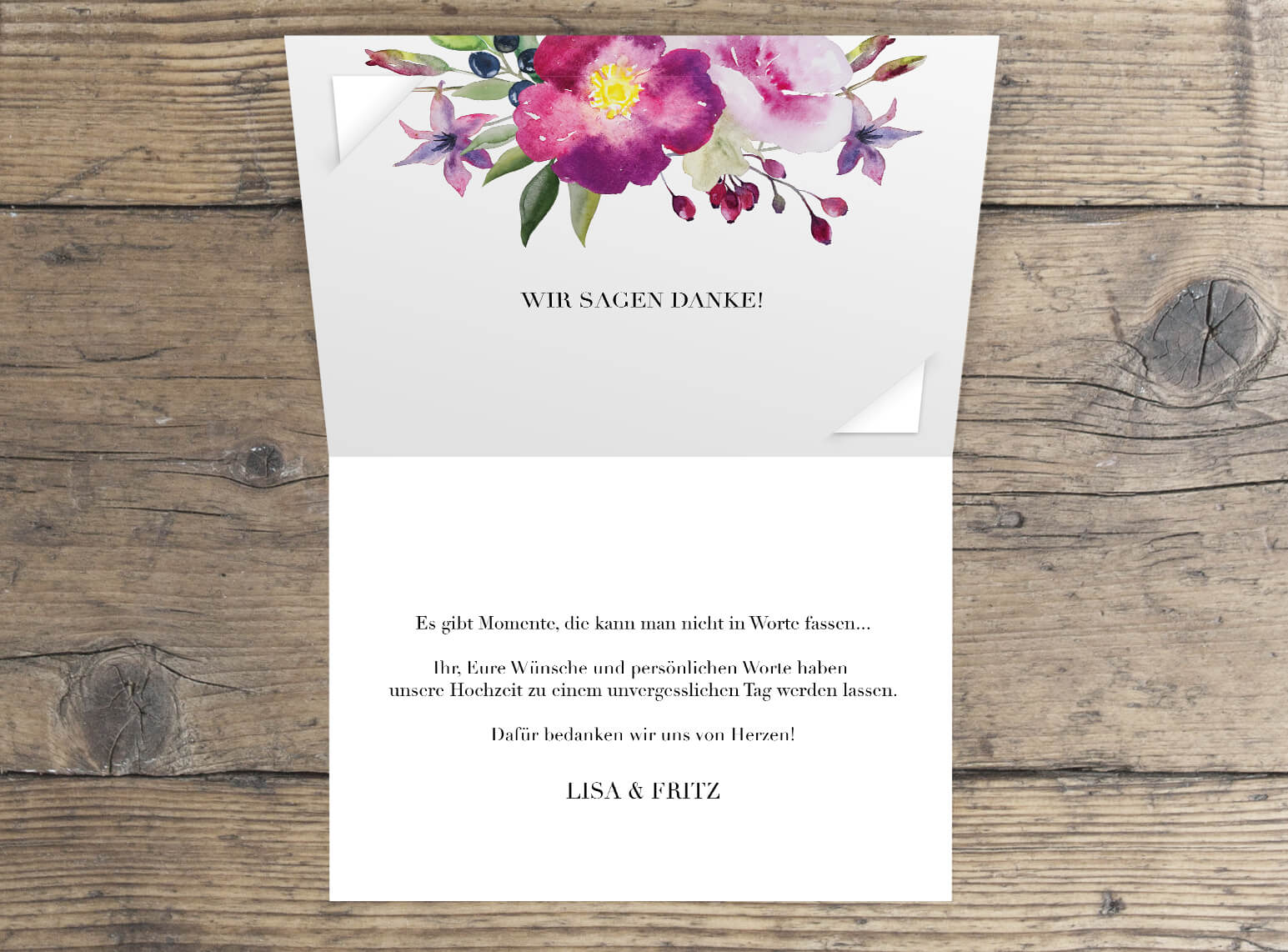 Dankesklappkarte im rosen Aquarell design Innenseite