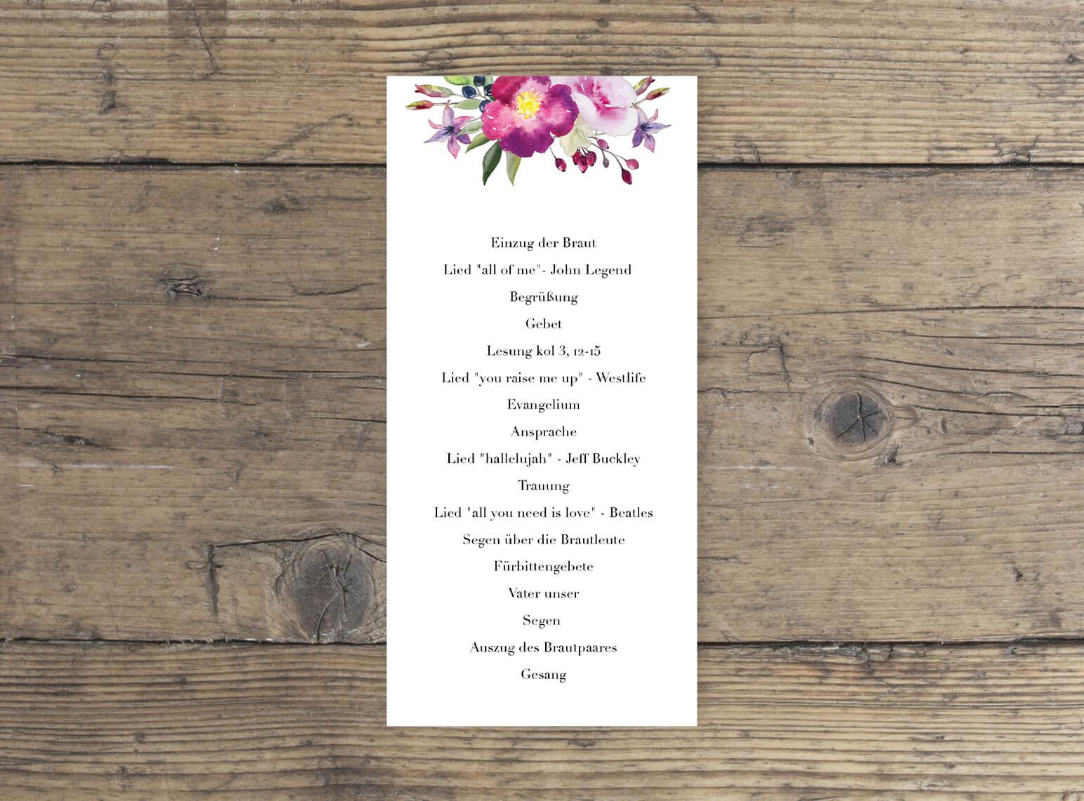 Hochzeit Kirchenblatt Romantisches Blumen Aquarell Design