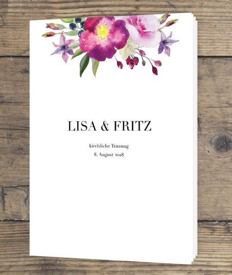 Romantische Rosen Aquarell Hochzeitskartendesign Kirchenheft Hochzeit 4-Seiten