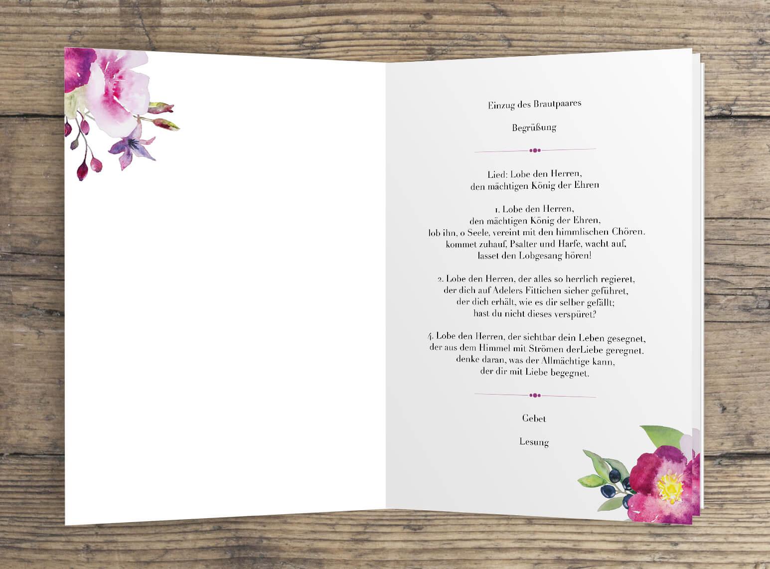 Romantisches Rosen Aquarell Kirchenheft 4-Seiten Innen Seite