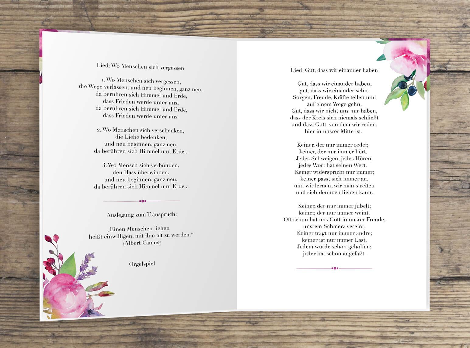 Blumen Aquarell Rosen Liebe Kirchenheft Innenseite 4-Seiten