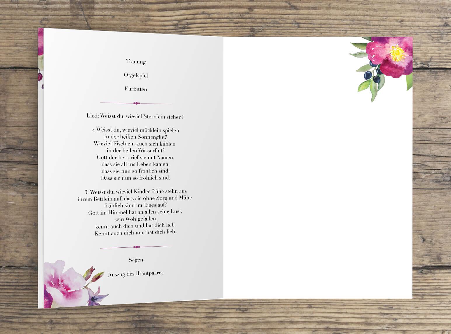Kirchenheft Hochzeit 4-Seiten Rosen Aquarell