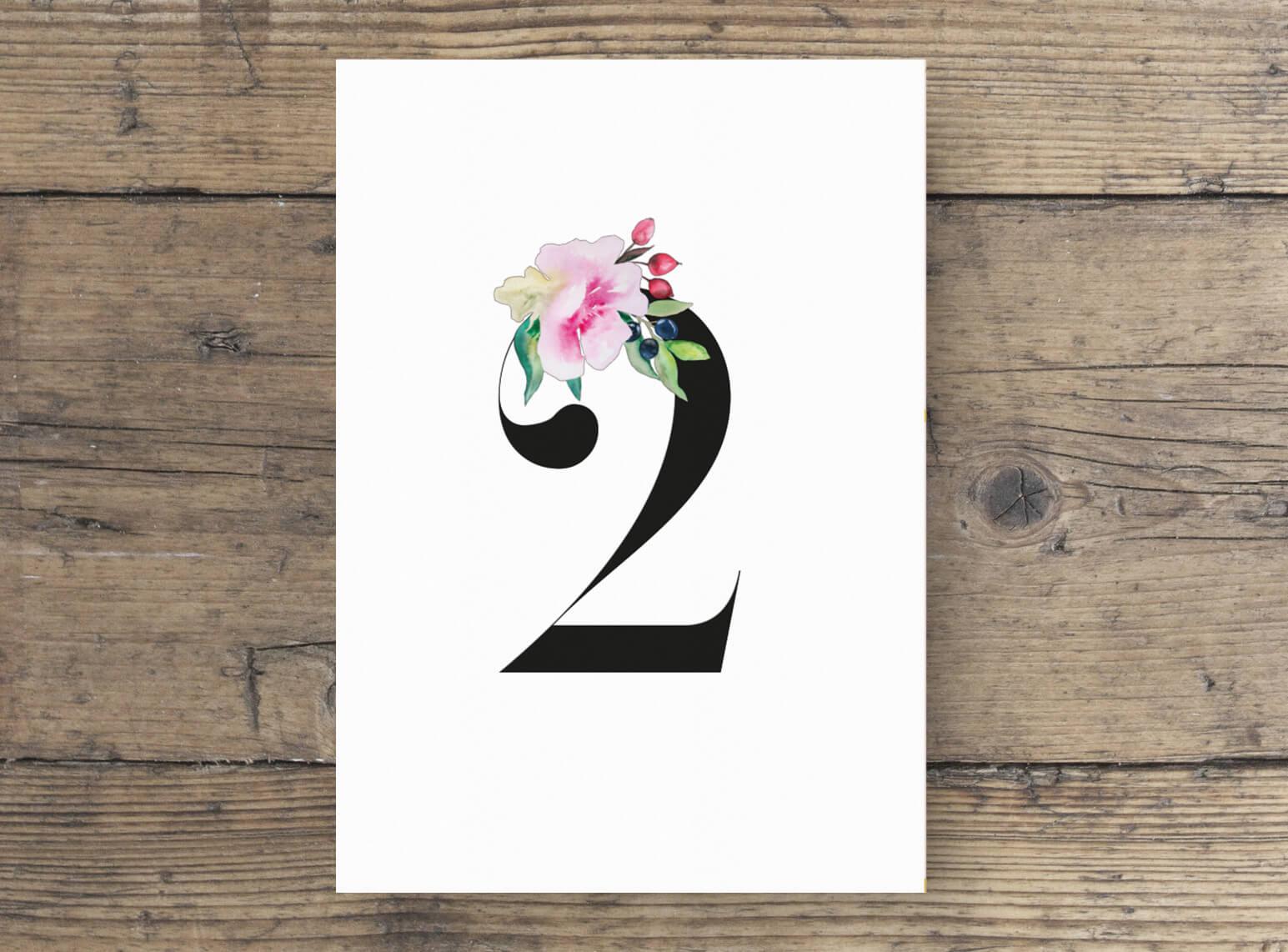 Tischnummer verziert mit Rosen in Aquarell, Hochzeitskarten wilde Romantik in Aquarell