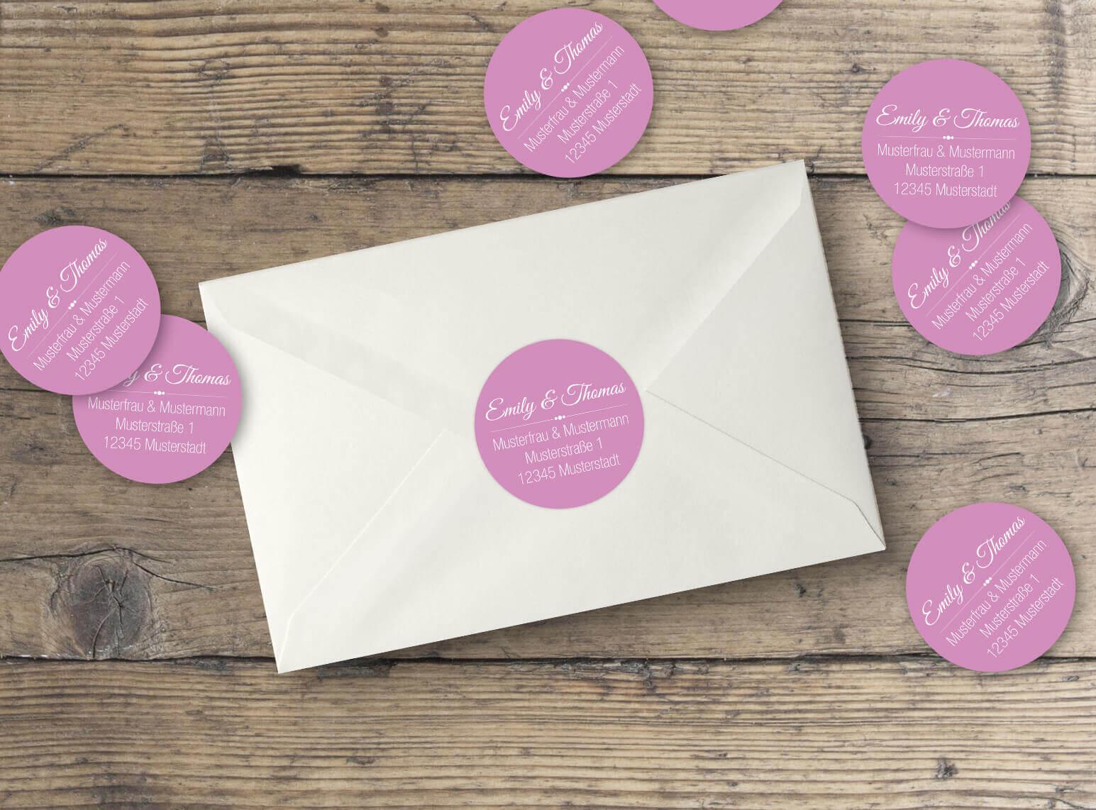 Runde Hochzeitseinladungs Adressaufkleber in rosa