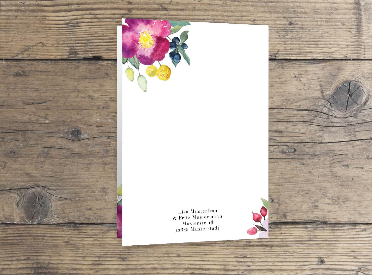 Hochzeitskarte Rosen Aquarell Liebe