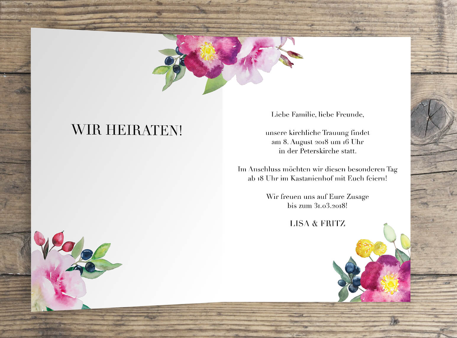 Hochzeitskarte Klappkarte Aquarell Rosen Liebe offen