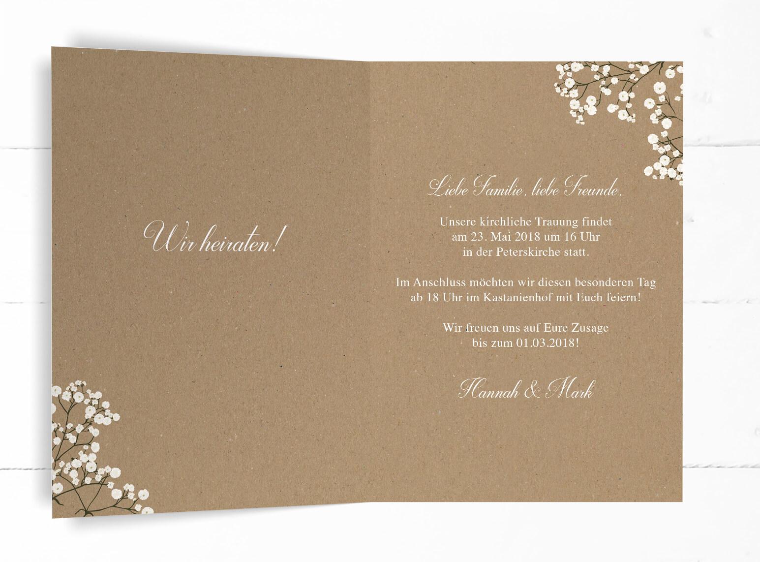 Hochzeitskarte Schleierkraut Einladung Kraftpapier Weiß Romantisch