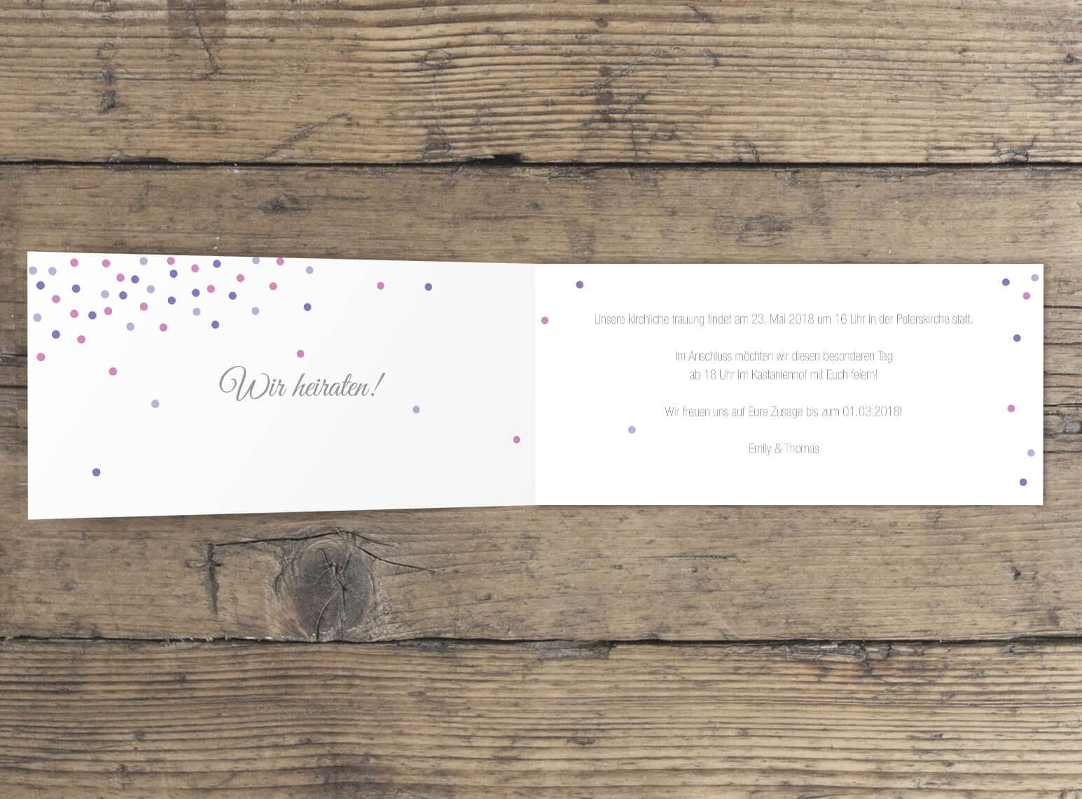 Hochzeitseinladung Klappkarte Langformat innen