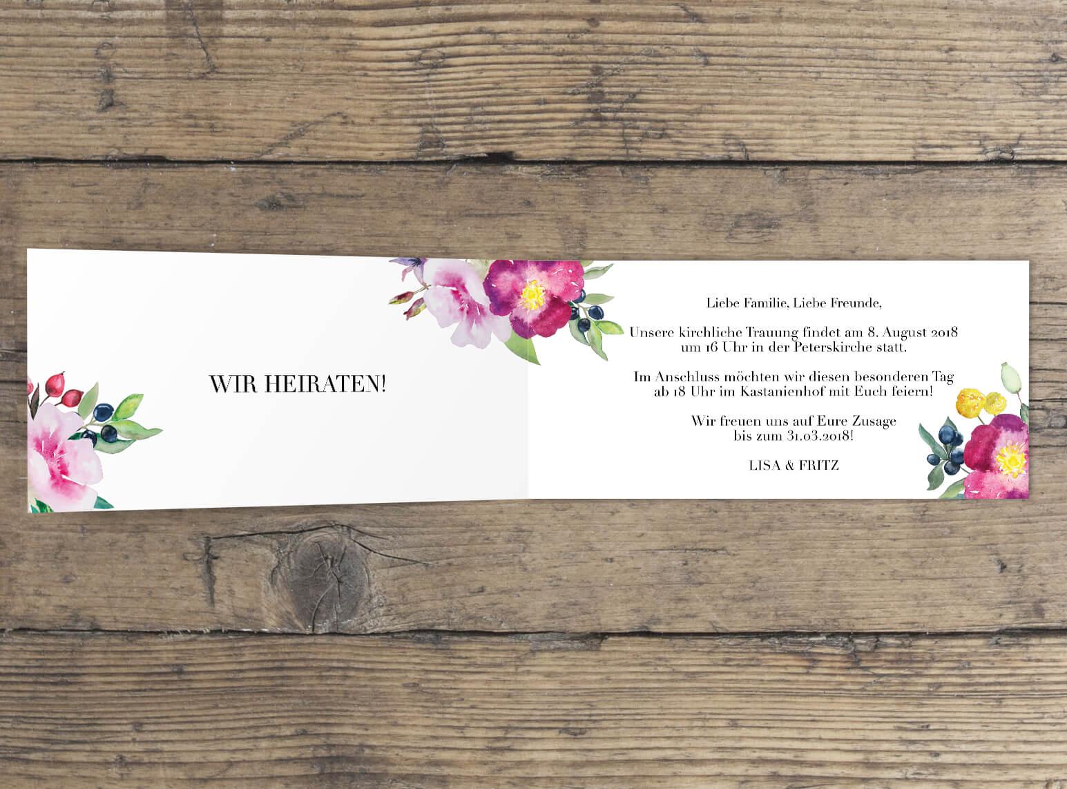 Klappkarte Hochzeitseinladung Rosen Liebe Aquarell