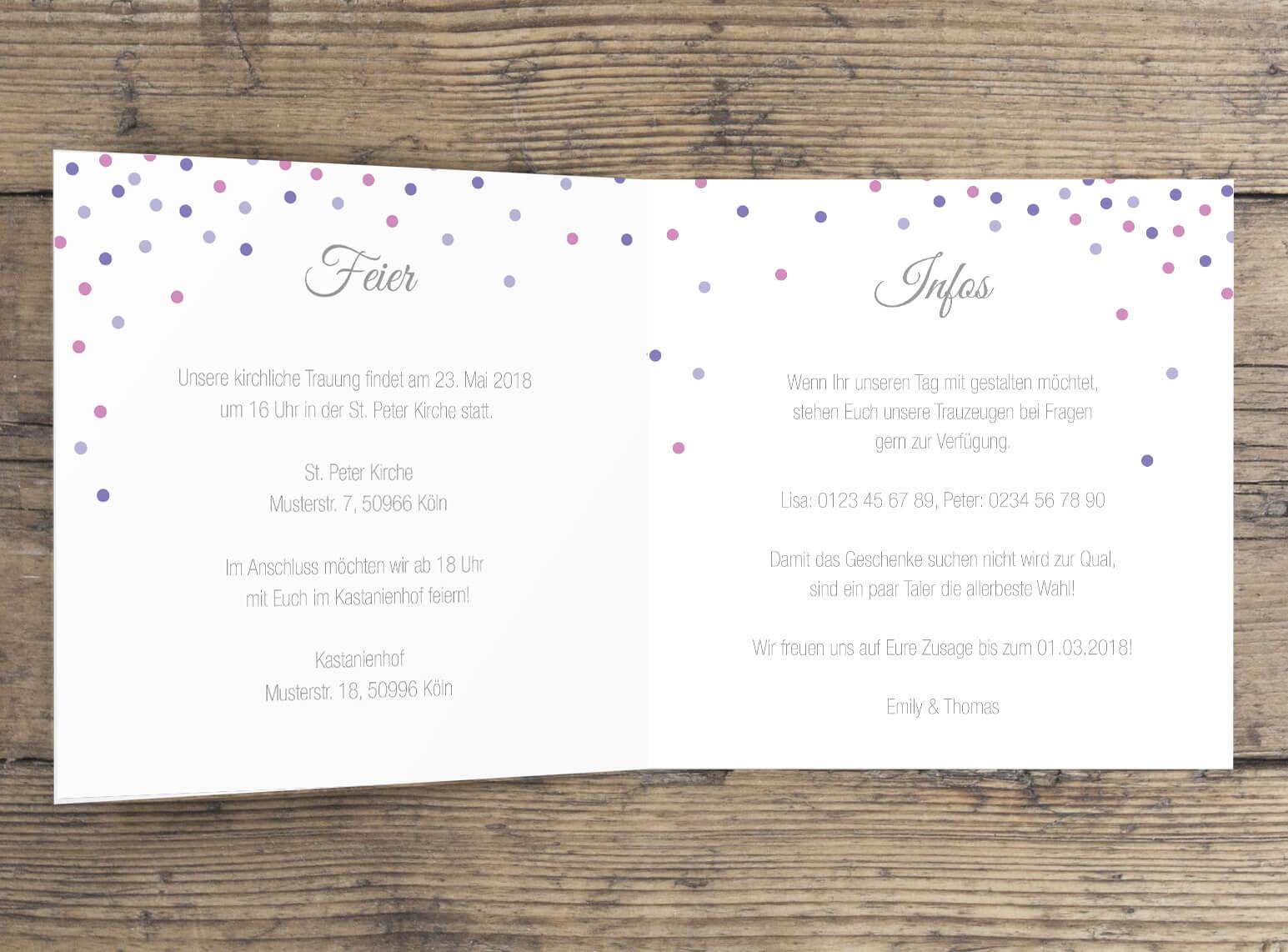 Hochzeitseinladung modern quadratische Klappkarte innen