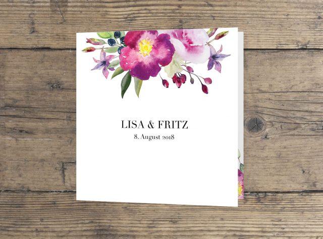 Hochzeitskarten wilde Romantik in Aquarell, Hochzeitseinladung Blumen Aquarell quadratisches Rosen Motiv