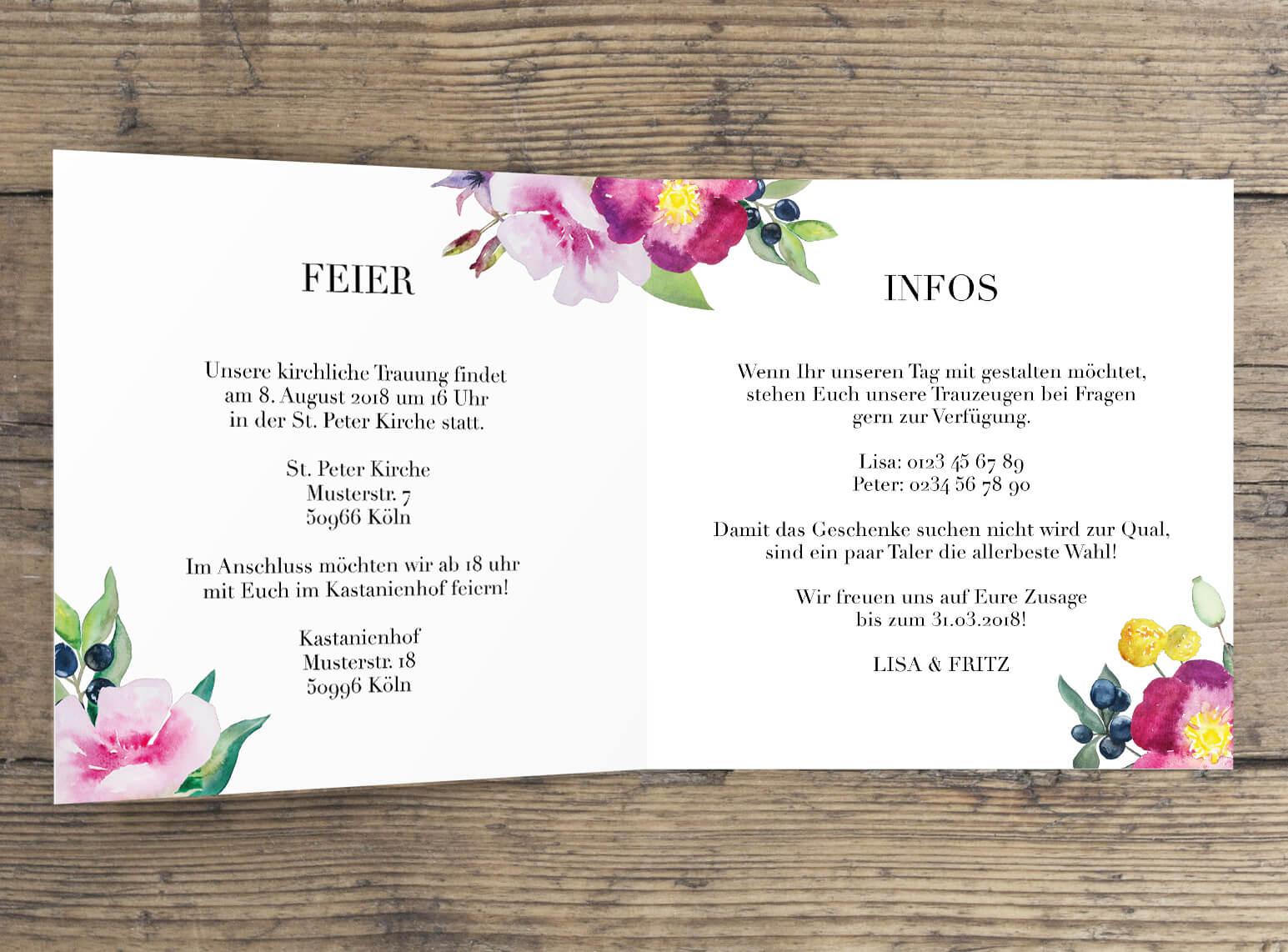 Aquarell Hochzeitseinladung liebliche Rosen