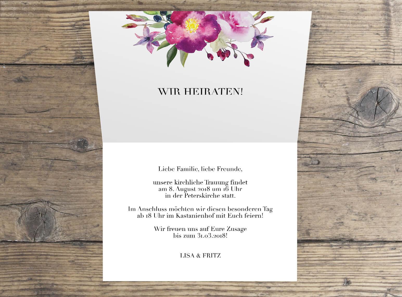 Hochzeitseinladung Rosen Aquarell