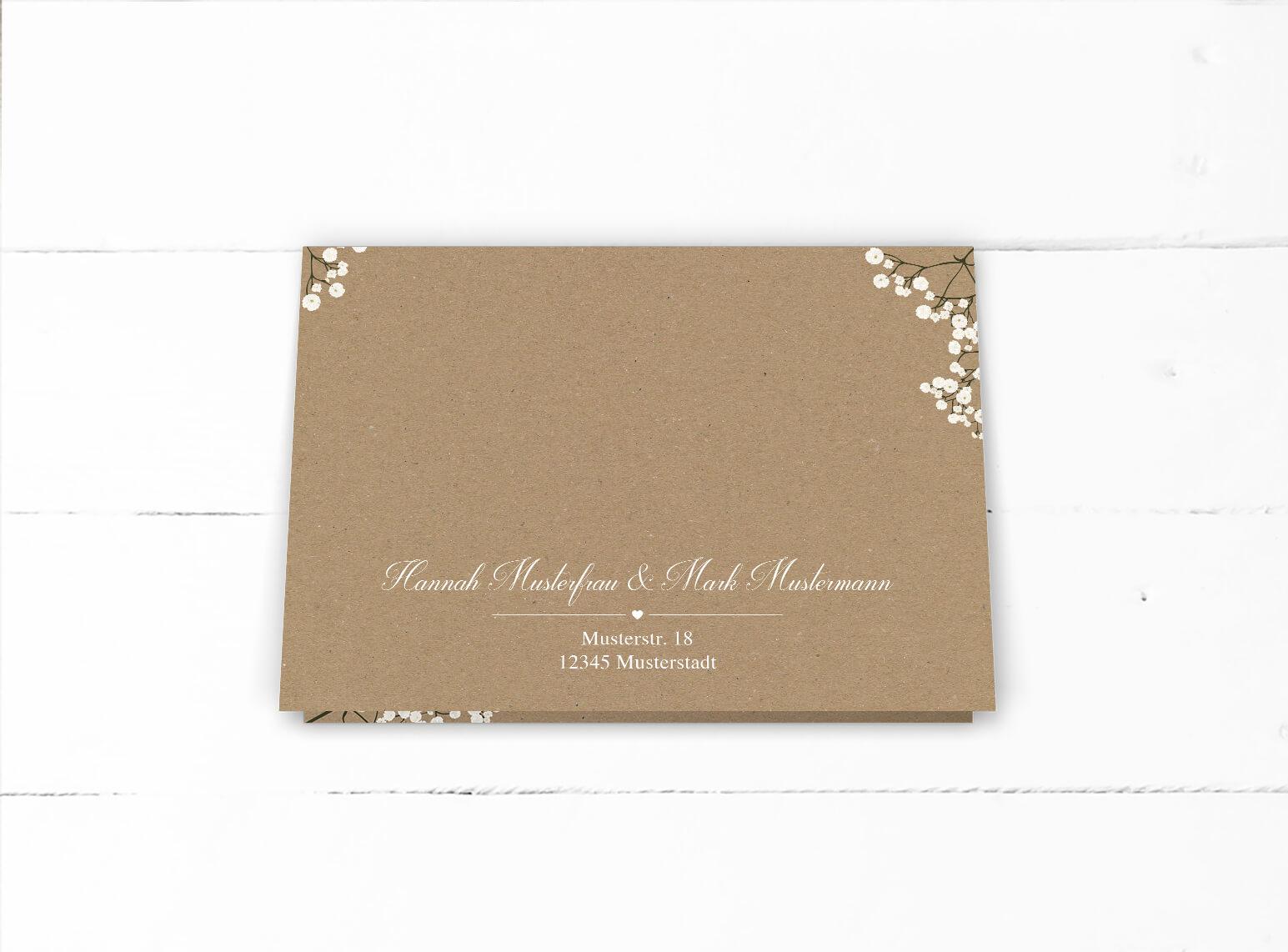 Weißes Schleierkraut Kraftpapier Romantische Hochzeitseinladung Klappkarte