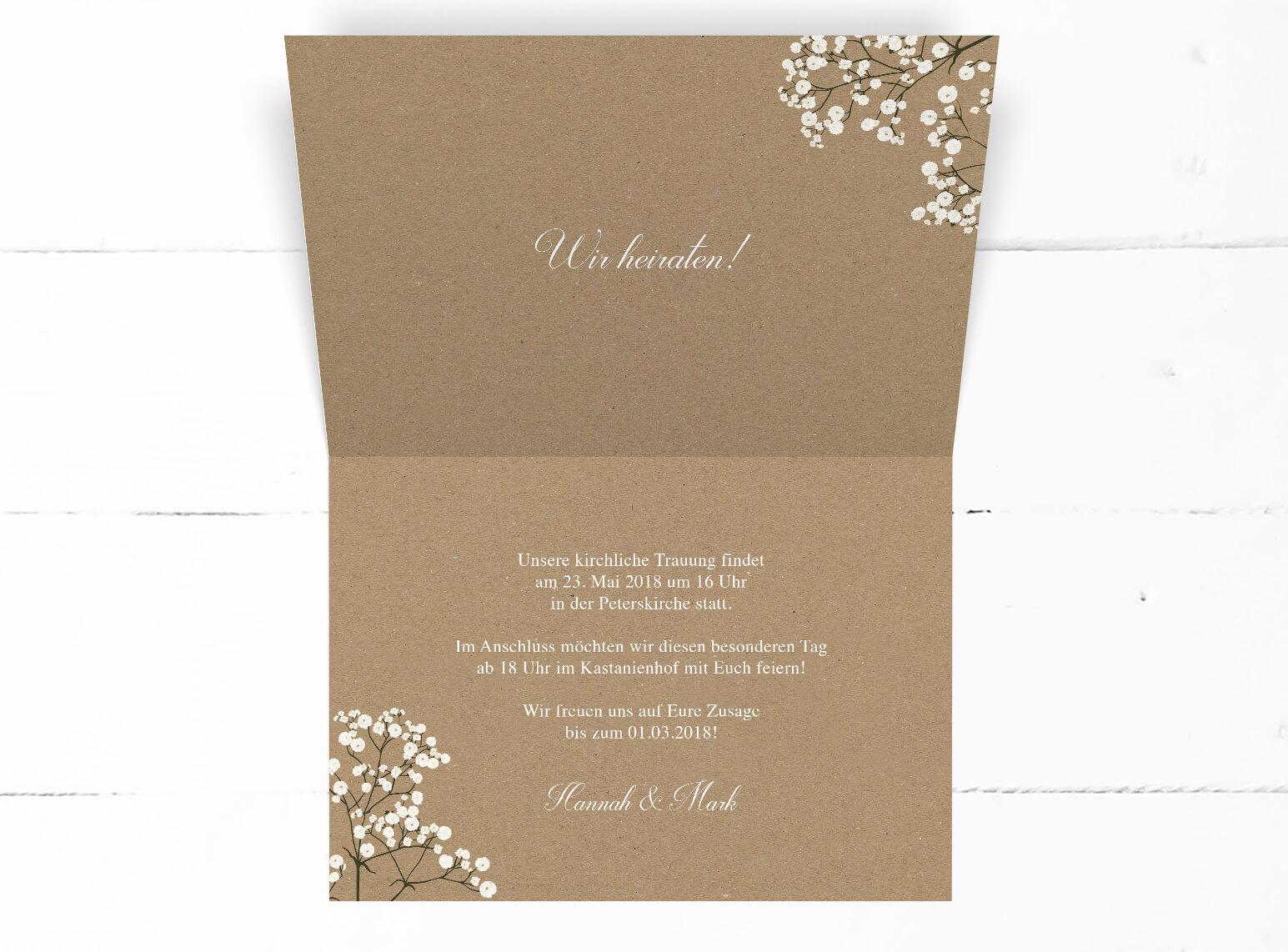 Schleierkraut Einladung Hochzeit Kraftpapier Romantisch