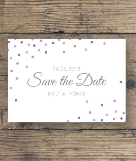 Postkarte Save The Date elegante Schrift lila rosa
